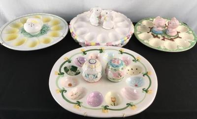 Lot of 4 Deviled Egg Plates