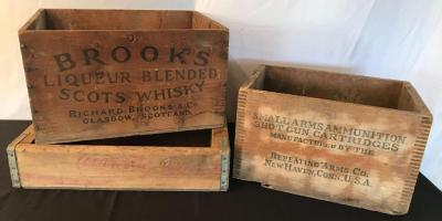Lot of Vintage Wooden Boxes and Coke Crate