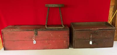 Wooden boxes, Contents, & Steel Step Stool
