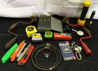 Drill Bits, Tape Measures, Flash Lights, Single Edge Blades, Etc.