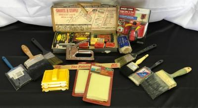 Lot of Assorted Painting Supplies and Staple Gun