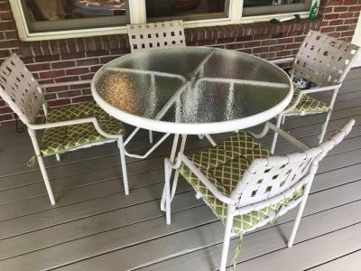Glass Top Patio Table and 4 chairs