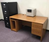 Desk, Sentry Safe Model 1170 and Hon 4 Drawer Legal Filing Cabinet
