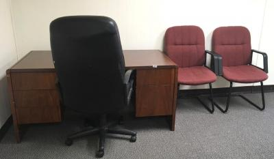 Desk and 3 Office Chairs