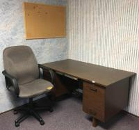 Desk, Office Chair and Cork Board