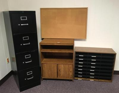 Hon 4 Drawer Filing Cabinet, Microwave Stand, Organizer and Cork Board