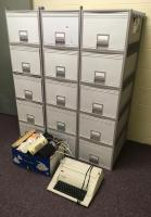 Lot of Stackable Filing Cabinets w/ Electric Typewriter and Misc. Speakers, Etc.