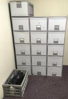 Lot of Stackable Filing Cabinets w/ Keyboards and Misc. Computer Items