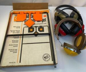 Spinner Target, Ear Muffs, Targets and Holder