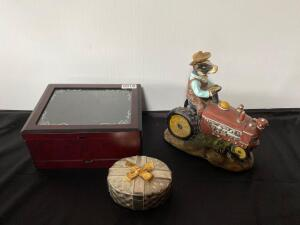 Jewelry Boxes and Tractor Statue