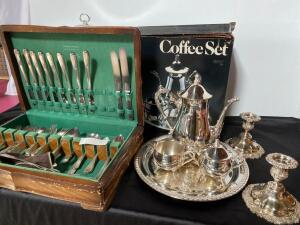 Flatware Set in Box. Assorted. Silver Plate Casserole , Coffee Pot, Candlesticks