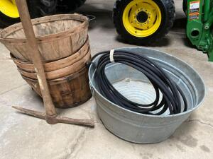 Galvanized tub & bushel baskets, Soaker Hose, Misc