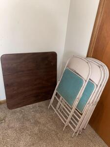 Vintage Card Table and 4 Folding Chairs