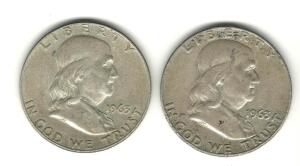 Lot of 2 Franklin Halves