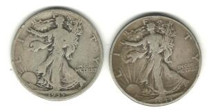 Lot of 2 Walking Liberty Halves