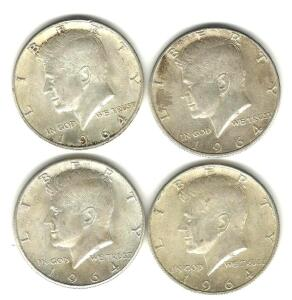 Lot of 4 1964 Kennedy Halves