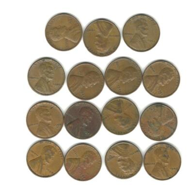 Lot of 15 Wheat Cents