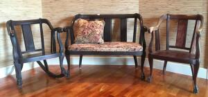 Set of 3 Chairs & Wooden Settee