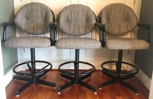 Set of 3 Padded Bar Chairs