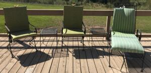 Patio Spring Chairs, Lounge Chair & Side Tables