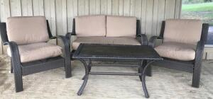 Composite Wicker Padded Patio Furniture Set and Rug