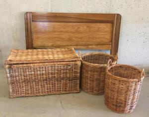Full Size Headbord and Wicker Trunk w/ Baskets