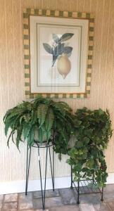 Picture and Plant Stands w/ Artificial Plants