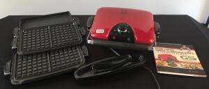 George Foreman Grill with Interchangeable Plates and Cookbook