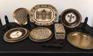 Lot of Decorative Plates and Plate Holder