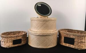 Vanity Mirror, Wicker Hat Boxes and Baskets