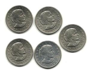 Lot of 5- 1979 Susan B Anthony Dollars