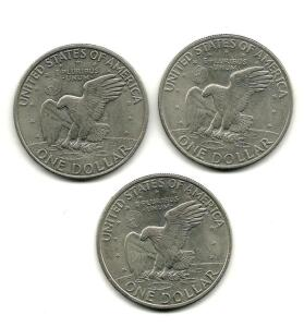 Lot of 3 1972 Eisenhower Liberty Dollars