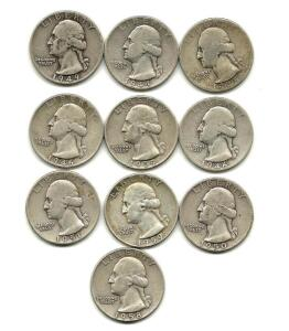 Lot of 10 Washington Quarters