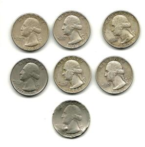 Lot of 7 Washington Quarters