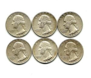 Lot of 6 1964 Washington Quarters
