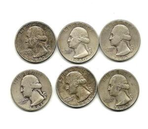 Lot of 6 Washington Quarters