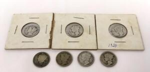 Lot of 7 Mercury Dimes