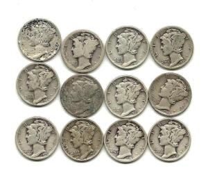 Lot of 12 Mercury Dimes