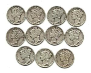 Lot of 11 Mercury Dimes