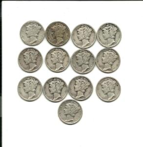 Lot of 13 Mercury Dimes