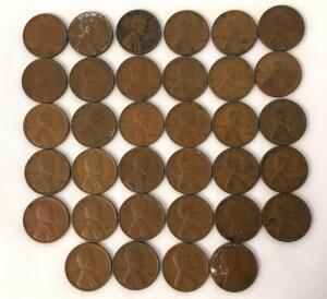 Lot of 34 Assorted 1930's Lincoln Wheat Cents