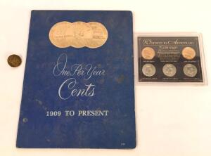 Lincoln Cents Album and Women in American Coinage Collection w/ U.S. Pin