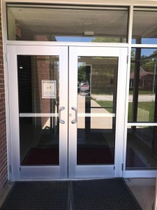 Vestibule Doors in front of School EXTERIOR Only