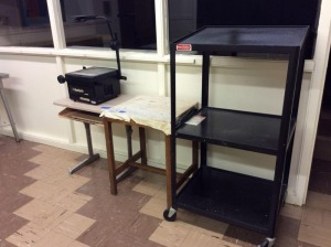 JHA- 2 desks, AV Cart & Projector