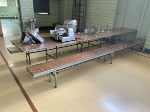 Lot of 5 Built In Cafeteria Tables and Benches