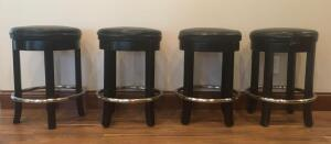 Lot of 4 Padded Swivel Bar Stools Counter Height