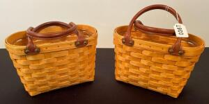 Pair of Leather Handled Longaberger Baskets