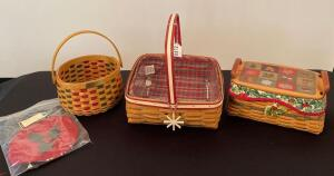 Lot of 3 Longaberger Baskets Christmas Editions