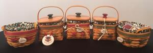Lot of 5 Longaberger Christmas Baskets