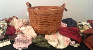 1993 Longaberger Basket w/ Various Cloth Tie Liners